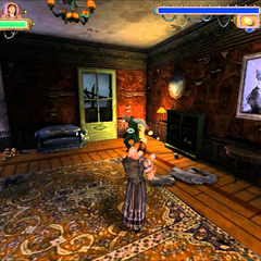 Violet in a room in the PC version.