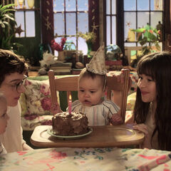 The Baudelaires and Beatrice on her first birthday.