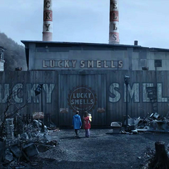 The Baudelaires arrive at Lucky Smells Lumbermill.