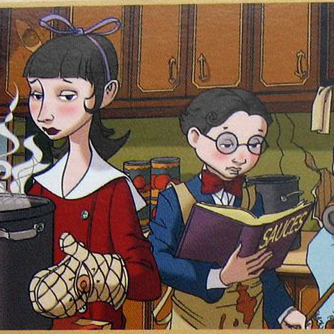 The Baudelaires making dinner for Olaf's troupe.