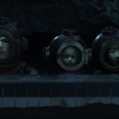 The Baudelaires in diving gear.