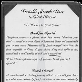 Veritable French Diner menu.