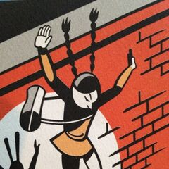 Ellington jumping down from Wade Academy wall (from the cover of Shouldn't You Be in School?).