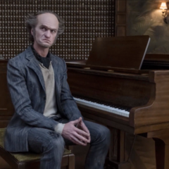 Count Olaf with a piano during the trial.