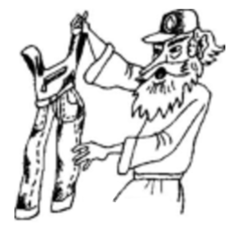 Robinson with overalls in the Russian illustrations.