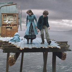 The Baudelaires trapped on a platform