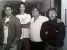 From left to right- Adam Sandler, Fred Wolf, Chris Farley, and David Spade in the hallway at 30 Rock.