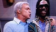 As Frank Sinatra with Eddie Murphy (playing Stevie Wonder) in the Ebony and Ivory sketch