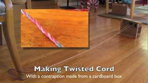 How to make twisted cord and rope with a cardboard contraption