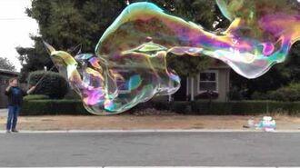 Turbulent bubble tube in slo mo