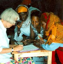Barbara Knudson at refugee camp