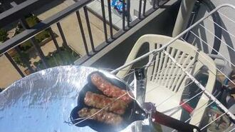 Grilling kebabs on my solar cooker made from satellite dish
