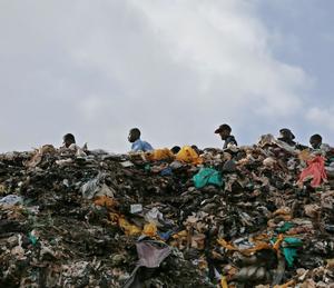 Plastic bags in trash in Kenya, photo credit- Daniel Irungu-EPA