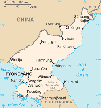 North Korea map, 1-4-16