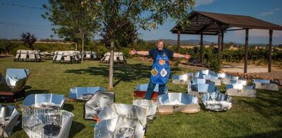 Irene Perbal with solar cookers, 9-18-14