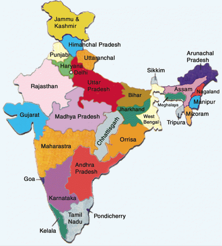 States of India map, 8-4-15