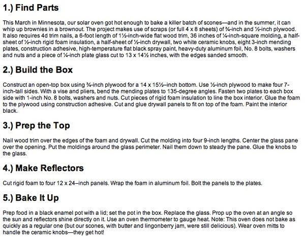 Popular Mechanics Hot-Box Solar Oven constructions instructions, 9-11