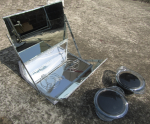 Datta Solar Panel Cooker, pots outside, 6-27-18