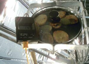 Solar Umbrella Cooker cooking temp., 12-29-13