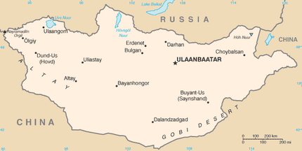 Mongolia map, 1-4-16