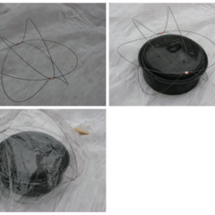 3 loop bag saver: Material is music wire and crimps are copper. To make: feed wire through both crimps until there are three 14