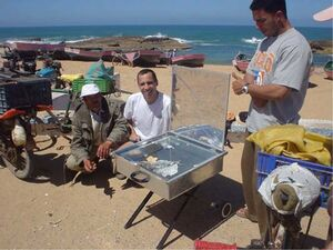 Vendors selling fish in Morocco