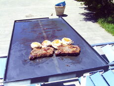 Ribeye steaks and bacon wrapped chicken breasts cooking on the Solar Fryer