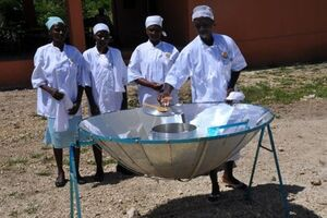 World Central Kitchen new parabolic solar cooker, 12-28-13