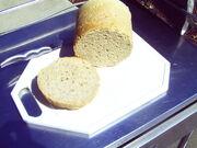 Freshly baked spelt bread from a solar cooker