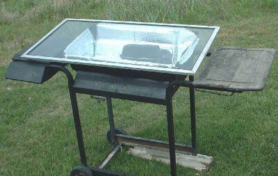 West's Solar Oven Cooking Cart in action closeupssmaller