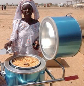 UNCHR supplied Blazing Tube solar cooker in Burkina Faso, 2-9-15