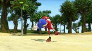 S1E11 Knuckles throw Sonic