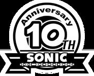 Sonic 10th logo bw