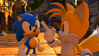 Tails happy to see Classic Sonic
