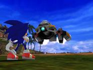 Sonic facing Egg Hornet
