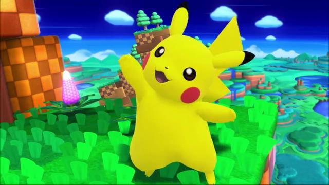 File:SSB4 Pikachu waving on Windy Hill.png