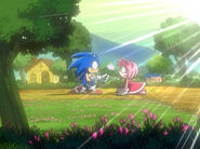 Sonic gives Amy a flower