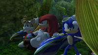 Team Sonic in hiding