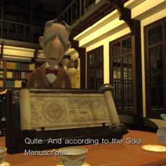Professor Pickle con los Manuscritos de Gaia.