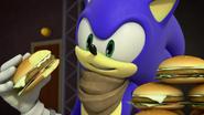 Sonic eats burger