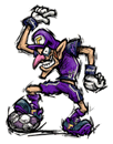 Brawl Sticker Waluigi (Super Mario Strikers)