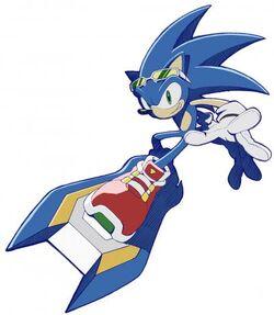 Sonic montando un Extreme Gear