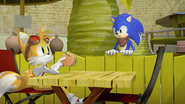 Sonic sees Tails at Meh Burger