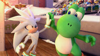 Silver and Yoshi giving high-five (Mario & Sonic 2010)
