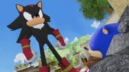 Shadow has sonic pinned