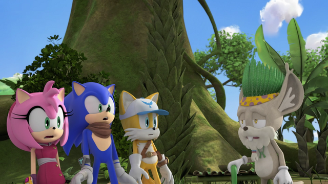 File:Amy Sonic Tails and Gogaba Chief.png