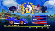 Sonic and Sega All Stars Racing character select 01