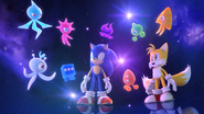Sonic and Tails with Wisps in Opening