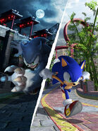 Sonic Unleashed Artwork - Sonic The Hedgehog And Sonic The Werehog (Chun-nan)