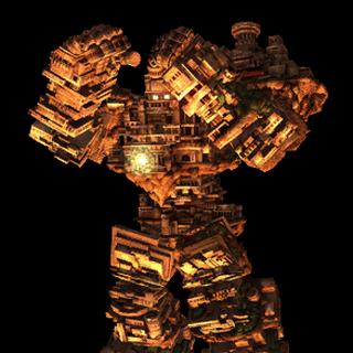 El Gaia Colossus resguardándose.